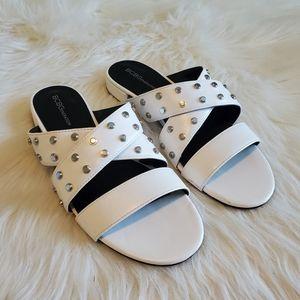 BCBGeneration White Studded Dana Slide Sandals